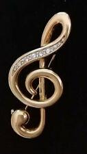 Treble clef Diamante Broche Vintage Dorado