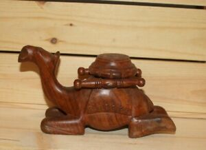 Vintage hand carving wood camel figurine