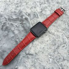 RED GENUINE LEATHER Crocodile Strap Band for Apple Watch Series 5,4,3,2,1