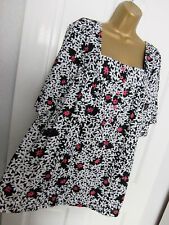 New ATMOSPHERE ● size 16 ● black white floral blouse top womens ladies