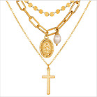 2021+New+Women+Stylish+Simple+Personality+Cross+Three-layer+Necklaces+Pendants