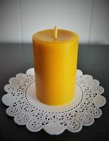 100% Pure Beeswax pillar Candle handmade cotton wick Natural 3'' 4'' 6''