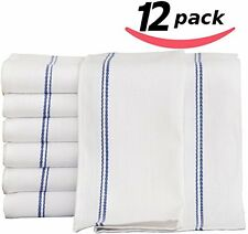 Kitchen-Restaurant-Hotel Dish-Cloth Tea Towels - 12 Pack, White with Blue Side S