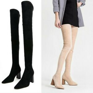 Women's Suede Over The Knee Boots Thigh High Stretch Pointy Toe Block Heel Party