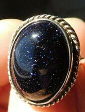 STERLING SILVER GOLDSTONE deep PURPLE RING size 6 lots of Glitter sparkle vtg
