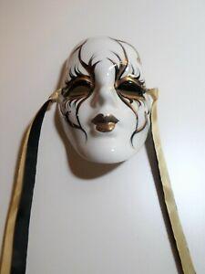 "Vintage Mardi Gras Porcelain Hand Painted Mask 5"" - Handcrafted New Orleans"