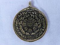 Großer Tibet Anhänger 4,5cm Metall Buddha Om Amulett Kalender Indien Nepal Asien