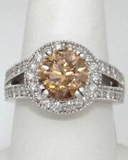 LADIES 14K WHITE GOLD 4.08ctROUND COCOA DIAMOND HALO ENGAGEMENT RING 13mm