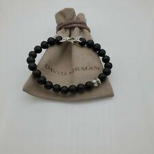 "David Yurman Men's Black Onyx & Black Diamond Spiritual Bead Bracelet size 8.5"""