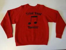 "Vintage 1970s "" Triad Band ♫ Booster "" Music Eighth Note Crewneck Red Sweatshirt"
