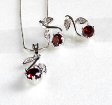 Girl Women Stud Earrings Necklace Set White Gold Plated Red CZ Cubic Crystal
