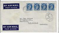 Canada 1958, Sc#341 x 4 short paid, taxed. Montreal to Australia. L@@@@K (F144)
