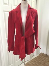 Finley Anthropology Red Suede Sylvia Tie Front Jacket S Mint!
