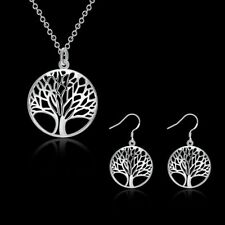 Fashion 925Sterling Solid Silver Tree Earrings Necklace Jewelry Sets S828