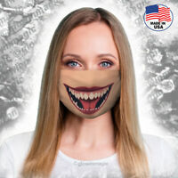 Monster smile Witch face mask- Washable & Reusable- Scary lips,Big teeth, Horror