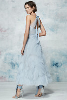 $995 NEW Marchesa Notte Textured Tulle Tea Length Gown Light Blue MIDI Dress 2 4