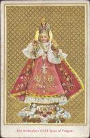 Prag Jesús Niño Cuadro Santos Amría Imagen Milagrosa Bohemia Koloriert (B-6674
