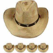 COWBOY HAT Western BULL BROWN BLACK Cowgirl Raffia Cap MEN WOMEN HIGH QUALITY