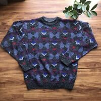 VINTAGE 80/90s J.J.Cochran Crew Sweater Mens L Grey Red Blue Geometric Acrylic