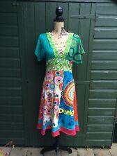 DESIGUAL - WOMENS FABULOUS MULTI COLOURED 100% COTTON DRESS - UK LARGE, BUY NOW