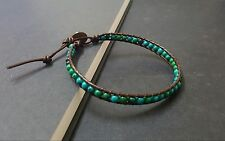 Chrysocolla Brown  Leather Anklet