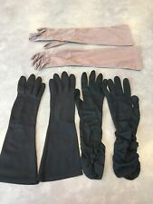 Vtg Lot of 3 Long Hand Made Gloves Black Brown Beaded Cotton Nylon Stretch
