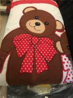 KID'S GIRL'S TODDLER TEDDY BEAR QUILT BEDSPREAD COMFORTER TWIN  RED WHITE HEARTS