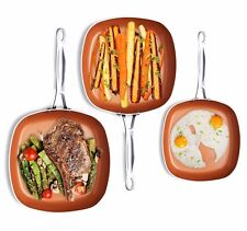 Gotham Steel 3 Piece Non-Stick Shallow Square Frying Pan Cookware Set - Copper!
