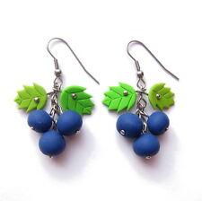 FIMO fimo Mirtillo BLU BLACKBERRY Ribes nero frutti Orecchini Jewelry
