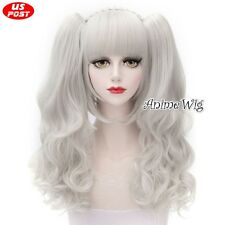 Silver White Anime Women  Girls 30cm Short + 2 Curly Ponytails Cosplay Wig+Cap