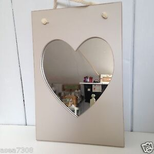 Shabby Chic Hanging Heart Mirror in 2 soft tones