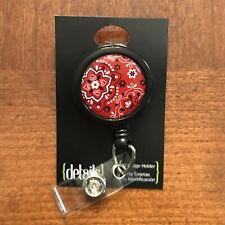 Red Classic Bandana Print ID Badge Holder Retractable Swivel Clip On