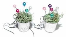CUTE HANDMADE THIMBLE AND PINS FLOWER POT DANGLE EARRINGS (D368)