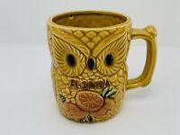 Vintage Owl Florida Coffee Mug Harvest Gold Made In Japan