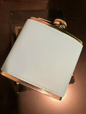 6 oz Light Blue Leather Wrapped Hip Flask
