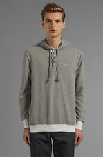 NWT Mens RVCA Capo Fleece Pullover Sweater Grey Noise Button Pullover Size Large