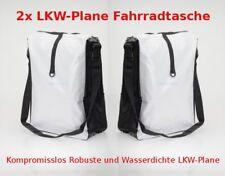2x LKW-Plane Fahrradtasche Fahrrad Gepäckträgertasche Tasche Wasserdicht Weiß