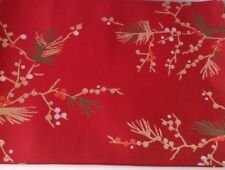 """4x Holiday Christmas Place Mats Food Network 14"""" X 19"""" Red Fabric Pine"""