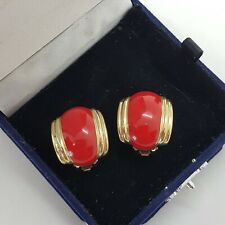 VINTAGE Statement Clip-On Earrings Red Enamel Deco Inspired Stripe Power Dress