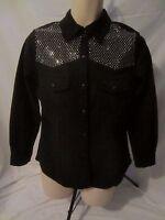 DG2 Diane Gilman Pearl Snap Embellished Black Jacket Shirt - Women's M - CC239