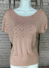 S H&M Pink Pearl Beads Soft Lightweight Short Sleeved Sweater Top
