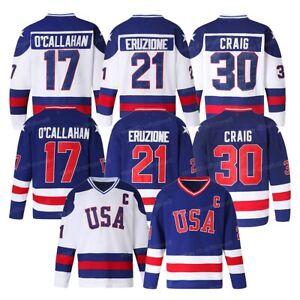 1980 USA Olympic Hockey Jersey #21 Mike Eruzione #17 O'Callahan #30 Jim Craig