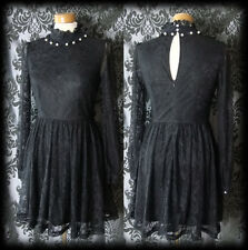 Goth Black Lace Fitted PENITENCE High Neck Detailed Dress 6 8 Victorian Vintage