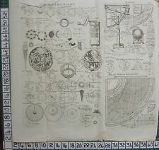 1794 ANTIQUE PRINT ~ ASTRONOMY VARIOUS DIAGRAMS SUTTONS QUADRANT GLOBE