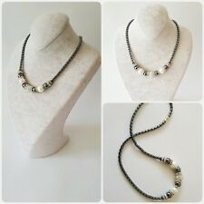 Halskette,Kette Hämatit (BlutStein)Mit Magnetverschlus und Perlen in Weiß