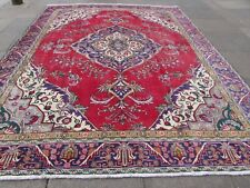 Shabby Chic Worn Vintage Hand Made Traditional Red Wool Large Carpet 341x280cm