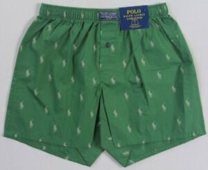 Ralph Lauren Classic Fit Green Multi Cream Pony Boxer Shorts NWT