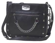 Harley-Davidson Women's Chain Gang Leather Crossbody Purse, Black CG2342L-BLK