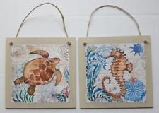 Ocean Sea Life Wall Hang Decor set of 2 Turtle Sea Horse