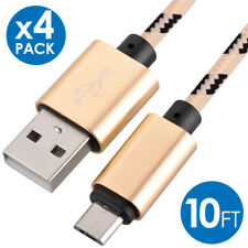4x Micro USB Fast Charger Data Sync Cable Nylon Braided Cord for Samsung Android